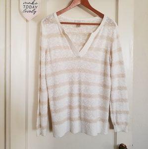 Loft White and Crem Striped Cotton Sweater